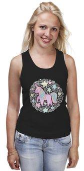 """Майка классическая """"Unicorn"""" - узор, голубой, орнамент, розовый, единорог"""