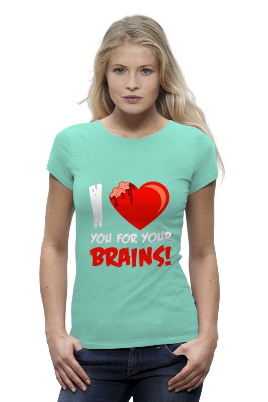 Футболка Wearcraft Premium Printio I love brains (zombie) сумка printio i love you beary much