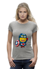 "Футболка Wearcraft Premium (Женская) ""Captain America Minions "" - кэп, мстители, миньоны, капитан америка, captain america"