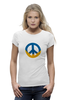 "Футболка Wearcraft Premium (Женская) ""Ukraine PEACE"" - мир, peace, yellow, blue, ukraine, украина, пацифизм"