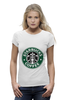 "Футболка Wearcraft Premium (Женская) ""starbucks coffee"" - зеленый, кофе, coffee, русалка, starbucks, старбакс"