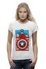 "Футболка Wearcraft Premium (Женская) ""Капитан Америка. Винтаж"" - comics, marvel, poster, марвел, vintage, капитан америка, captain america"