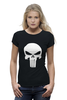 "Футболка Wearcraft Premium (Женская) ""Череп Карателя"" - skull, marvel, punisher, каратель, antihero"