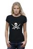 """Футболка Wearcraft Premium (Женская) """"Веселый Роджер."""" - череп, jolly roger, пират, веселый роджер, pirates, пираты карибского моря, пиратский флаг"""