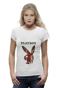"""Футболка Wearcraft Premium """"Playboy Британский флаг"""" - playboy, плейбой, зайчик, великобритания, плэйбой"""