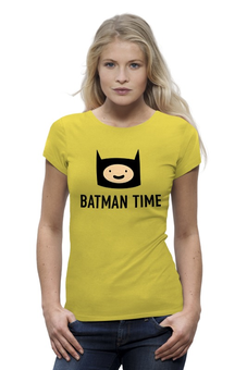 "Футболка Wearcraft Premium (Женская) ""Batman time"" - batman, adventure time, время приключений, adventure, finn"