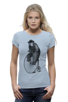 """Футболка Wearcraft Premium (Женская) """"Медведь на велосипеде"""" - арт, bear, медведь, велосипед"""