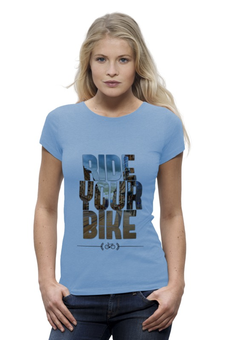 "Футболка Wearcraft Premium (Женская) ""Ride Your Bike (Город)"" - город, велосипед, путешествия"