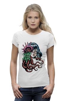 """Футболка Wearcraft Premium """"Морская"""" - девушка, авторские майки, футболка, женская, листья, рисунок, девушке, футболка женская, ракушка, морская"""