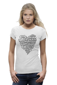 "Футболка Wearcraft Premium (Женская) ""Love lettering (сердце с надписью)"" - сердце, heart, love is, с надписью, послание"