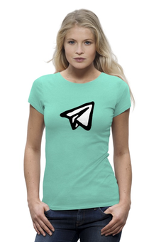 """Футболка Wearcraft Premium """"Телеграм, бумажный самолетик"""" - telegram, digital resistance, телеграм, дуров, самолетики"""