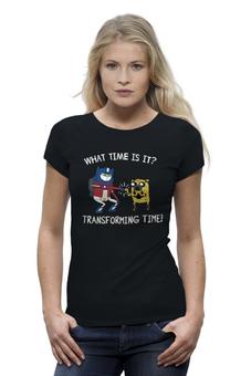 """Футболка Wearcraft Premium (Женская) """"Transforming time"""" - время приключений, adventure, трансформеры, finn"""