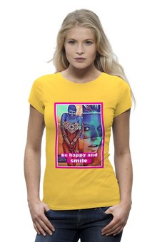 "Футболка Wearcraft Premium ""be happy and smile"" - women, yellow, positive, cloaths"