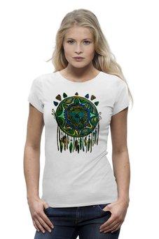 """Футболка Wearcraft Premium """"Зеленая Черепаха"""" - арт, рисунок, знак, графика, орнамент, футболка женская, этно, иллюстрация, символ, перо"""