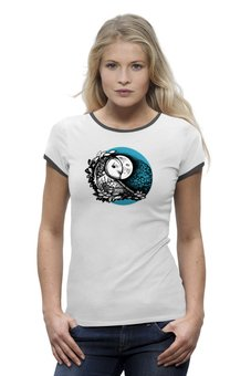 """Футболка Wearcraft Premium """"Сова и Луна"""" - животные, птица, сова, оригинальный, луна"""