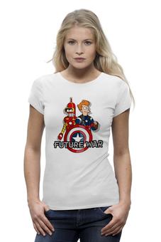 "Футболка Wearcraft Premium (Женская) ""Футурама (Мстители)"" - futurama, бендер, iron man, капитан америка, фрай"