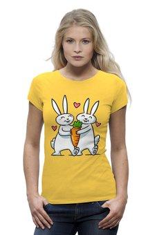 """Футболка Wearcraft Premium """"Влюблённые  кролики"""" - любовь, сердца, день святого валентина, пара, морковь"""