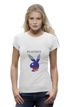 "Футболка Wearcraft Premium ""Playboy Россия"" - playboy, плейбой, плэйбой, зайчик, россия"