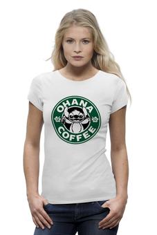 """Футболка Wearcraft Premium """"Лило и Стич Кофе """" - кофе, coffee, starbucks, лило и стич"""