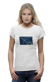 """Футболка Wearcraft Premium """"Женская футболка"""" - самолет, авиа, авиация, aviation"""
