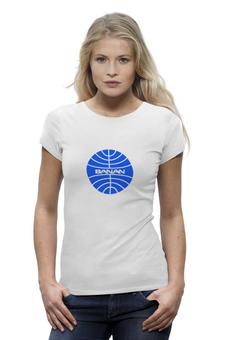 """Футболка Wearcraft Premium """"Футболка с изображением логотипа """"BANAN"""""""" - футболка женская, стюардесса, бортпроводник, pan american"""