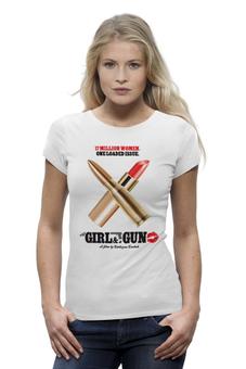 "Футболка Wearcraft Premium ""Женская футболка с оригинальным принтом"" - футболка женская, оружие, пули, милитари"