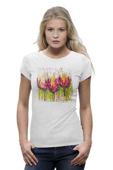 """Футболка Wearcraft Premium """"""""Tulips shirt"""""""" - арт, лето, цветы, оригинально, краски, футболка женская, авторский принт, kosa"""