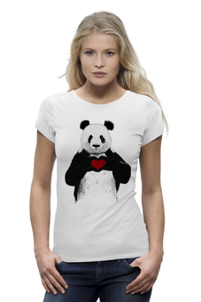 "Футболка Wearcraft Premium (Женская) ""Panda                "" - любовь, heart, love, панда, panda"