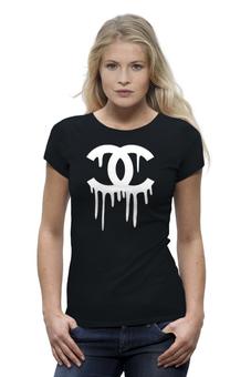 "Футболка Wearcraft Premium (Женская) ""Chanel"" - духи, бренд, fashion, коко шанель, brand, coco chanel, шанель, perfume, karl lagerfeld, карл лагерфельд"