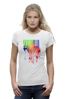 """Футболка Wearcraft Premium (Женская) """"Цветная зебра!"""" - футболка, популярные, прикольные, в подарок"""