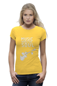 "Футболка Wearcraft Premium ""Music heals the soul"" - музыка, dj, music, club, клуб"