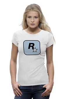 """Футболка Wearcraft Premium """"Rockstar Light-Blue"""" - авторские майки, футболка, женская, оригинально, футболка женская, rockstar, рокстар, rockstar games"""