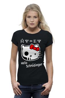 "Футболка Wearcraft Premium (Женская) ""Привет Шредингер"" - hello kitty, аниме, кити, кот шредингера"