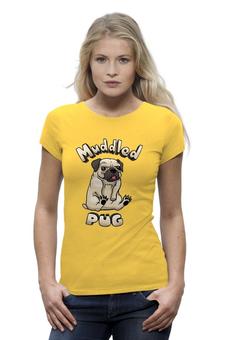 """Футболка Wearcraft Premium (Женская) """"Muddled pug"""" - собачка, бульдог"""