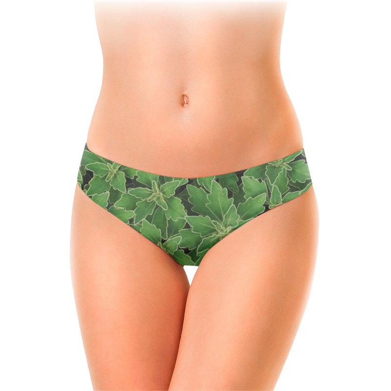 Женские трусы-слипы Printio Зеленые листья
